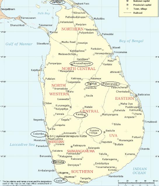 Mappa delle città con più attrazioni, Sri Lanka