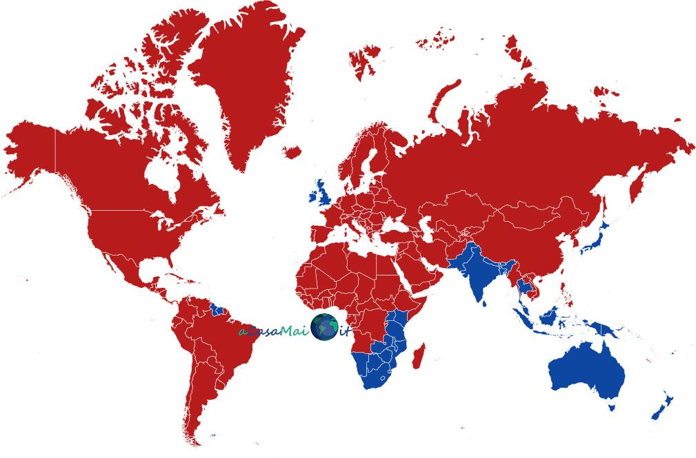 Mappa dei paesi con guida a sinistra