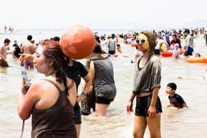 La spiaggia di Daecheon durante il Mud Festival