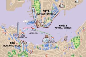 La mappa delle tratte dello Star Ferry di Hong Kong