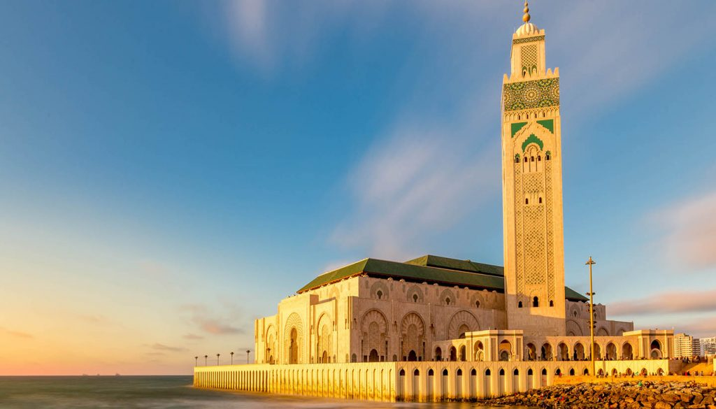 Glowing Sunset Of The Hassan Ii Mosque