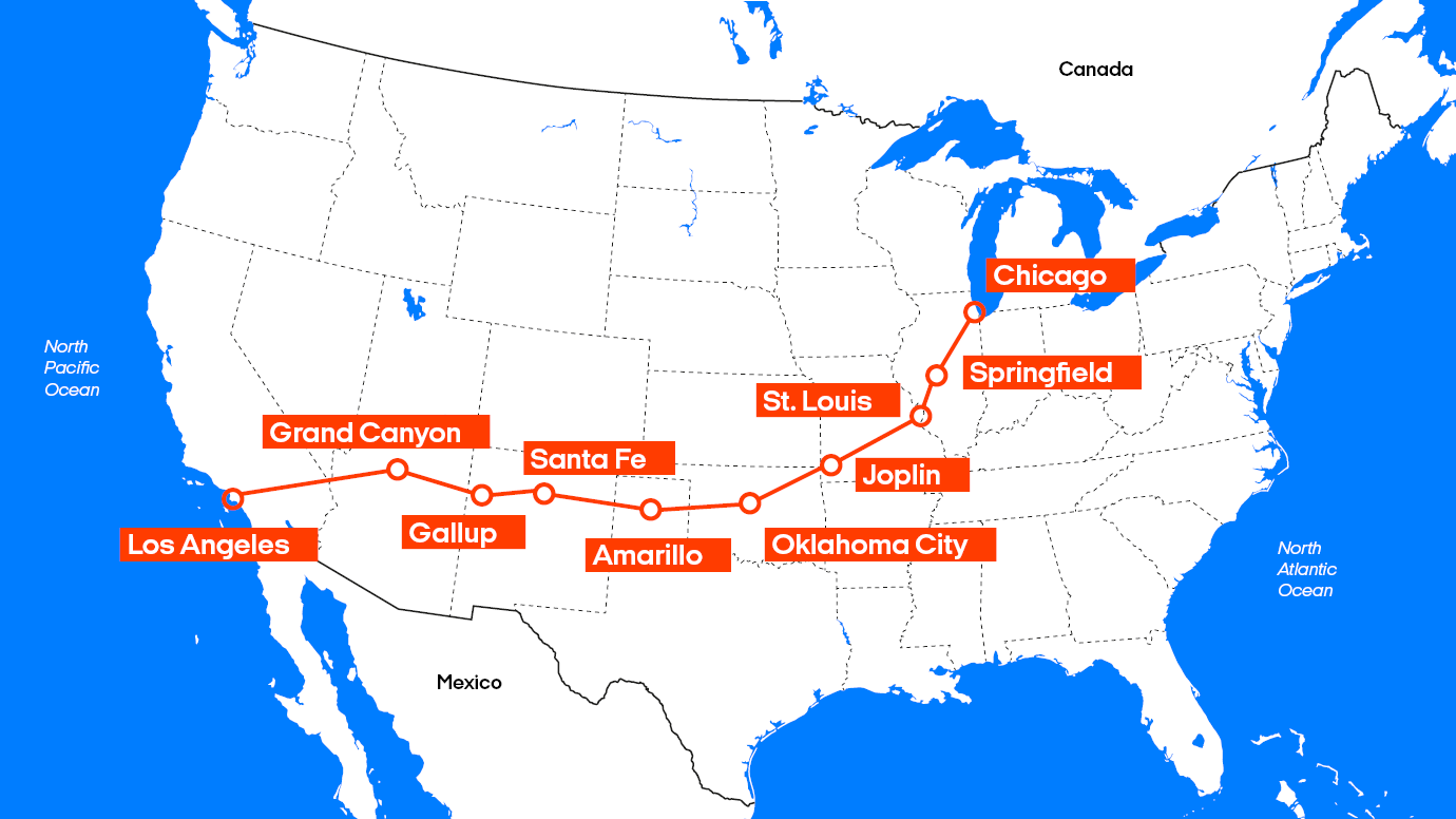 Karte Route 66